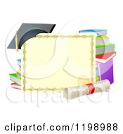 Cartoon Of A Certificate Degree With A Diploma Books And Graduation Cap Royalty Free Vector Clipart by AtStockIllustration