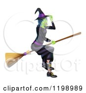 Cartoon Of A Green Hallowen Witch Tipping Her Hat And Flying On A Broom Royalty Free Vector Clipart