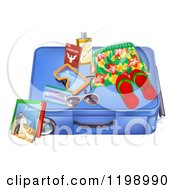 Cartoon Of A Blue Suitcase With Travel Items And A Passport Royalty Free Vector Clipart