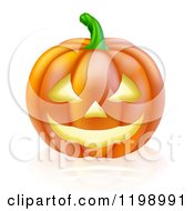 Cartoon Of A Carved Halloween Jackolantern Pumpkin With A Smile Royalty Free Vector Clipart