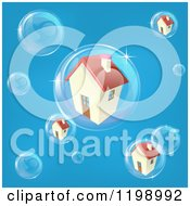 Cartoon Of A Bubble In The Housing Market With Homes In Bubbles On Blue Royalty Free Vector Clipart
