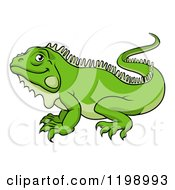 Cartoon Of A Happy Green Iguana Lizard Royalty Free Vector Clipart by AtStockIllustration