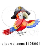 Cartoon Of A Pirate Parrot In A Tricorn Hat Presenting Royalty Free Vector Clipart