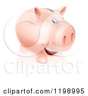 Cartoon Of A Happy Pink Piggy Bank Smiling Royalty Free Vector Clipart