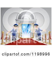 Cartoon Of A Venue Entrance With A VIP Red Carpet And Welcoming Friendly Doormen Royalty Free Vector Clipart