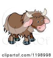 Cartoon Of A Cute Browk Yak Royalty Free Vector Clipart