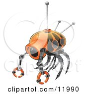 Orange Search Robot Clipart Illustration