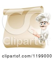 Cartoon Of A Friendly Chef Pointing To A Scroll Menu Royalty Free Vector Clipart by AtStockIllustration