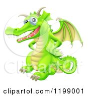 Cartoon Of A Happy Green Dragon With His Hands On His Hips Royalty Free Vector Clipart by AtStockIllustration