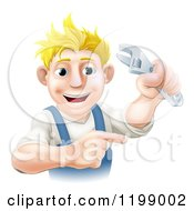 Cartoon Of A Happy Blond Worker Pointing And Holding An Adjustable Spanner Wrench Royalty Free Vector Clipart