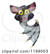 Cartoon Of A Cute Happy Vampire Bat Looking Around And Pointing At A Sign Royalty Free Vector Clipart by AtStockIllustration