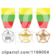 Clipart Of Silver Gold And Bronze Star Medals With Lithuania Flag Ribbons Royalty Free Vector Illustration