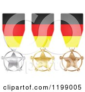 Clipart Of Silver Gold And Bronze Star Medals With German Flag Ribbons Royalty Free Vector Illustration by Andrei Marincas