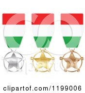 Clipart Of Silver Gold And Bronze Star Medals With Hungarian Flag Ribbons Royalty Free Vector Illustration