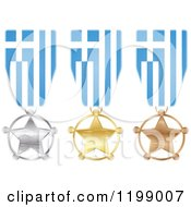 Clipart Of Silver Gold And Bronze Star Medals With Greece Flag Ribbons Royalty Free Vector Illustration