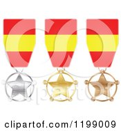Clipart Of Silver Gold And Bronze Star Medals With Spanish Flag Ribbons Royalty Free Vector Illustration