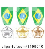 Clipart Of Silver Gold And Bronze Star Medals With Brazilian Flag Ribbons Royalty Free Vector Illustration