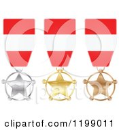 Clipart Of Silver Gold And Bronze Star Medals With Austrian Flag Ribbons Royalty Free Vector Illustration