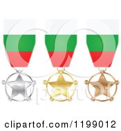 Clipart Of Silver Gold And Bronze Star Medals With Bulgarian Flag Ribbons Royalty Free Vector Illustration