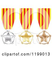 Clipart Of Silver Gold And Bronze Star Medals With Catalonia Flag Ribbons Royalty Free Vector Illustration