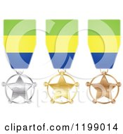 Clipart Of Silver Gold And Bronze Star Medals With Gabonese Flag Ribbons Royalty Free Vector Illustration