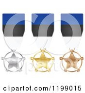 Clipart Of Silver Gold And Bronze Star Medals With Estonian Flag Ribbons Royalty Free Vector Illustration