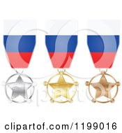 Clipart Of Silver Gold And Bronze Star Medals With Russian Flag Ribbons Royalty Free Vector Illustration