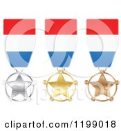 Clipart Of Silver Gold And Bronze Star Medals With Luxembourg Flag Ribbons Royalty Free Vector Illustration