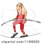 Cartoon Of A Daredevil Man Tight Rope Walking Royalty Free Vector Clipart
