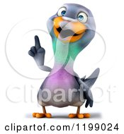 Clipart Of A 3d Pigeon Mascot Pointing Up Royalty Free CGI Illustration