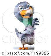 Clipart Of A 3d Pigeon Mascot Pointing To A Sign Royalty Free CGI Illustration