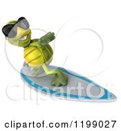 Clipart Of A 3d Tortoise Wearing Shades And Surfing 5 Royalty Free CGI Illustration
