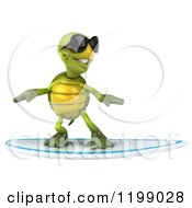 Clipart Of A 3d Tortoise Wearing Shades And Surfing 3 Royalty Free CGI Illustration