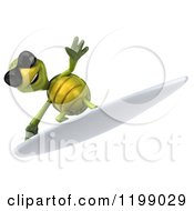Clipart Of A 3d Tortoise Wearing Shades And Surfing 4 Royalty Free CGI Illustration