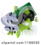 Clipart Of A 3d Happy Green House Wearing Sunglasses And Holding A Dollar Symbol And Thumb Up Royalty Free CGI Illustration