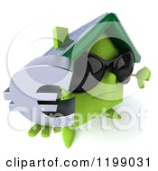 Clipart Of A 3d Unhappy Green House Wearing Sunglasses And Holding A Euro Symbol And A Thumb Down Royalty Free CGI Illustration