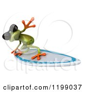 Clipart Of A 3d Springer Frog Wearing Sunglasses And Surfing 5 Royalty Free CGI Illustration
