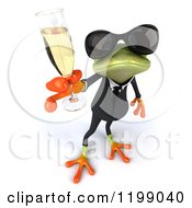 Clipart Of A 3d Formal Frog With Sunglasses And Champagne 3 Royalty Free CGI Illustration