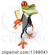 Clipart Of A 3d Business Springer Frog Toasting With Champagne 6 Royalty Free CGI Illustration