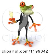 Clipart Of A 3d Business Springer Frog Toasting With Champagne 5 Royalty Free CGI Illustration