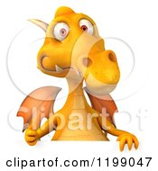 3d Yellow Dragon Holding A Thumb Up Over A Sign