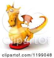3d Yellow Dragon Balancing On A Scale