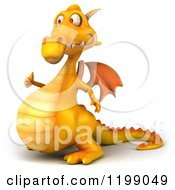 3d Yellow Dragon Holding A Thumb Up 2