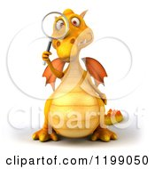 3d Yellow Dragon Searching With A Magnifying Glass