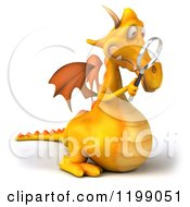 3d Yellow Dragon Searching With A Magnifying Glass 2