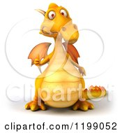 3d Yellow Dragon Holding A Thumb Up