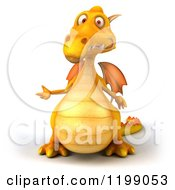 Clipart Of A 3d Yellow Dragon Presenting Royalty Free CGI Illustration