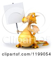3d Yellow Dragon Holding A Sign