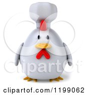 Clipart Of A 3d Chubby Chef Chicken Royalty Free CGI Illustration