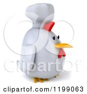 Clipart Of A 3d Chubby Chef Chicken Facing Right Royalty Free CGI Illustration